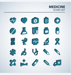 medical 3d icon set 25 volumetric hospital vector image