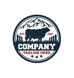 Modern badge angus bull and farm logo vector