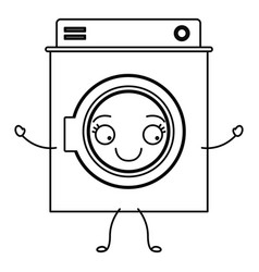 monochrome cartoon silhouette of washing machine vector image