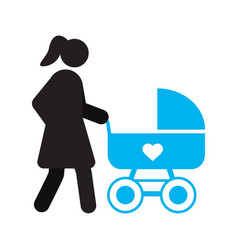 mother with baby carriage silhouette icon vector image