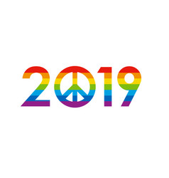 New year 2019 concept - rainbow colored vector