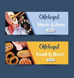 Oktoberfest banner design with pretzel sausage vector