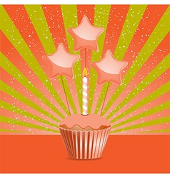 Orange Birthday cupcake vector image