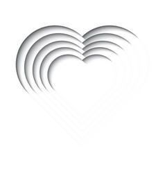 Paper cut out background with 3d effect heart vector