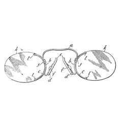 Pince nez spectacles vintage engraving vector