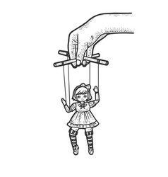 puppeteer with puppet doll sketch vector image