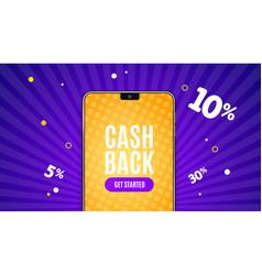 realistic detailed 3d phone cash back app banner vector image