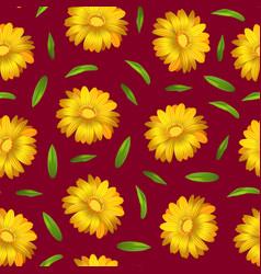 realistic detailed 3d yellow calendula marigold vector image
