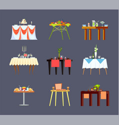 restaurant tables drinks and food isolated icons vector image