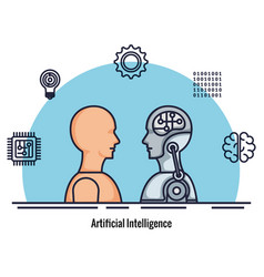 robotic profile artificial intelligence icons vector image