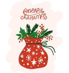 Santa claus bag hand drawn style merry christmas vector