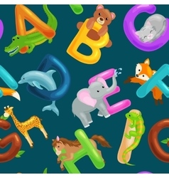 seamless pattern with cartoon animals alphabet vector image
