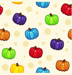 seamless pattern with cartoon color pumpkins vector image