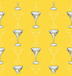 Seamless pattern with cocktail glasses vector