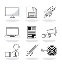 set digital marketing network media communication vector image