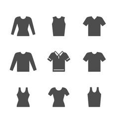 Set icons t-shirt singlet long sleeve vector