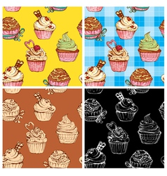 set of seamless patterns with decorated sweet cupc vector image