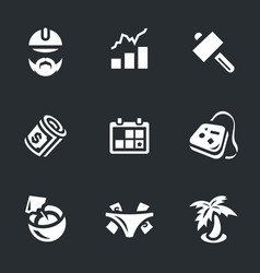 Set of work and leisure icons vector