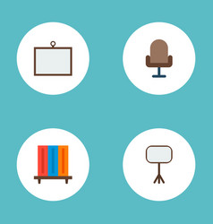 Set of workspace icons flat style symbols with vector