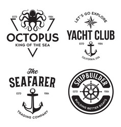 set sea and nautical typography badges and vector image