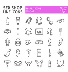 Sex shop line icon set toys symbols vector
