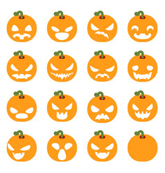 Simple halloween pumpkin decoration scary faces vector