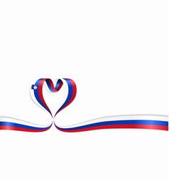 Slovenian flag heart-shaped ribbon vector