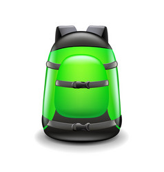Sports green backpack isolated on white vector
