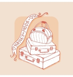 Suitcases and bag with ribbons Honeymoon vector