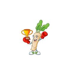 Super cool boxing winner horseradish in mascot vector