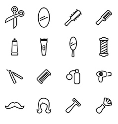 Thin line icons - barber vector