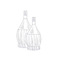 Two Braided Wine Bottles Hand Drawn Realistic vector image