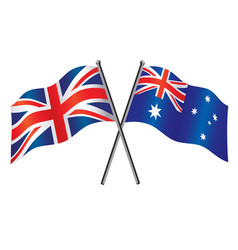 uk and australian flags crossed alliance vector image