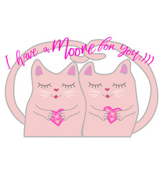 valentines day card with couple of cute cats vector image