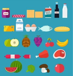 Vegetables and fruits icons set of food vector