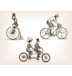 Vintage bicycles sketch vector image