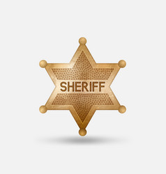 vintage bronze badge sheriff star vector image