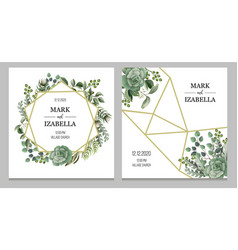 wedding invitation with leaves succulent vector image