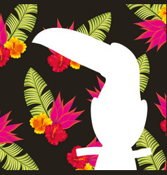 white silhouette toucan tropical flowers and vector image vector image