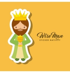 Wise man sticker nativity vector