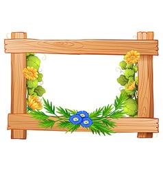 Wooden frame with flowers and leaves vector