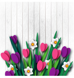 Wooden texture with paper cut spring flowers vector
