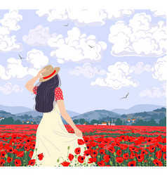 Young woman enjoys poppies field vector