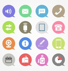 Communication web icons set in color speech clouds vector image vector image