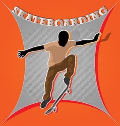 Designed colored artistic skateboarding poster vector image