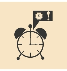 Flat in black white alarm clock and money vector image