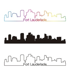 Fort Lauderlade skyline linear style with rainbow vector image