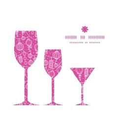 holiday lanterns line art three wine glasses vector image