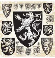 Medieval shield set vector