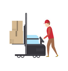 warehouse worker pushing trolley with boxes vector image